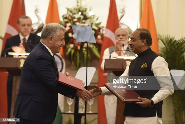 Union Sports Minister Vijay Goel and Turkish Minister exchange the agreements on the present Prime Minister Narendra Modi and the President of the...