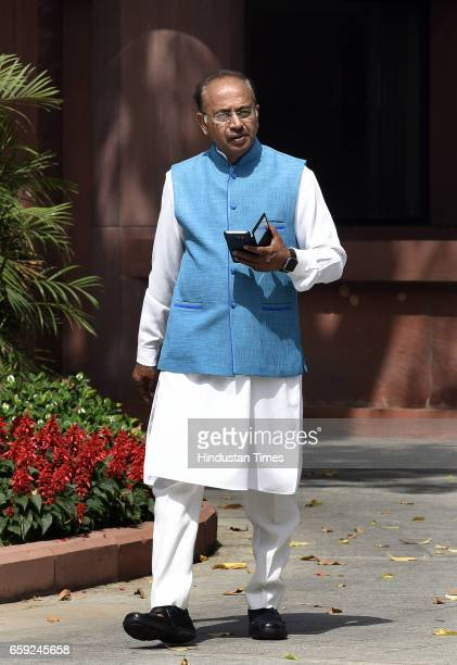 Union Sports Minister Vijay Goel arrives for attending the Parliament Budget Session after theBJP Parliamentary Party Meeting at Parliament Library...