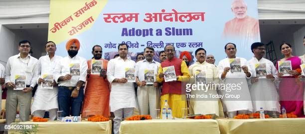 Union Sports Minister Vijay Goel during an event Adopt a Slum' in New Delhi