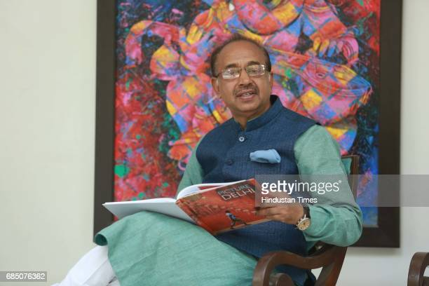 Union Sports Minister Vijay Goel poses during an exclusive interview with Hindustan Times at his residence on May 16 2016 in New Delhi India