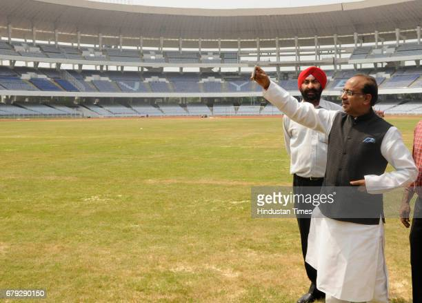 Union Sports Minister Vijay Goel visits Vivekananda Yubabharati Stadium to assess the preparation for U17 FIFA World Cup Football Tournament on May 5...