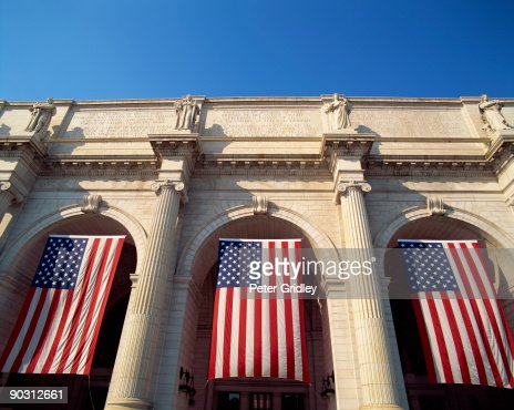 Union Station with American flags, Washington, DC