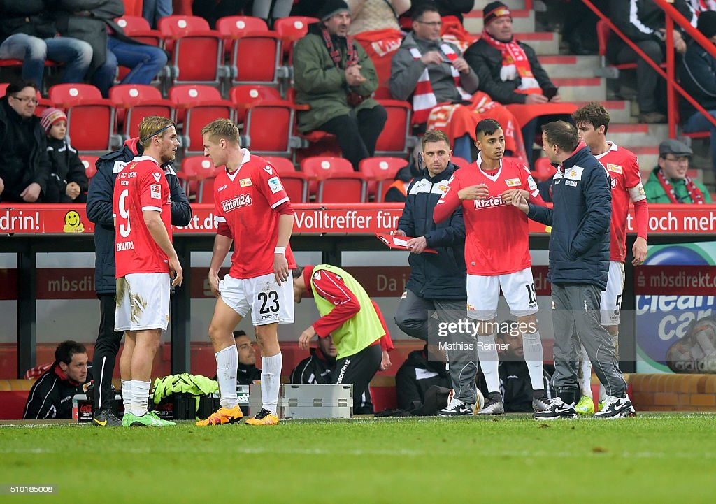 Union substitutes' bench during the game between Union Berlin and TSV 1860 Muenchen on february 14, 2016 in Berlin, Germany.