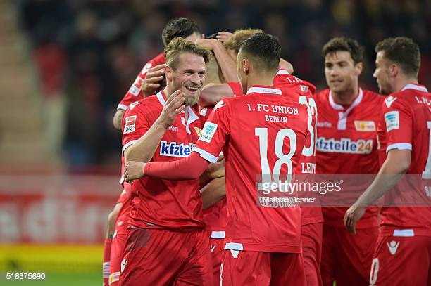 Union Team celebrates during the game between Union Berlin and Eintracht Braunschweig on march 18 2016 in Berlin Germany