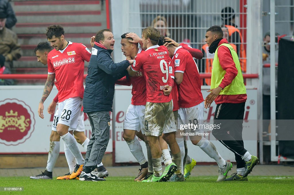 Union Team celebrates during the game between Union Berlin and TSV 1860 Muenchen on february 14, 2016 in Berlin, Germany.