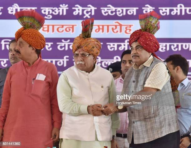 Union Transport Minister Nitin Gadkari Haryana Chief Minister Manohar Lal Khattar with others during the inauguration function of Maharana Pratap...