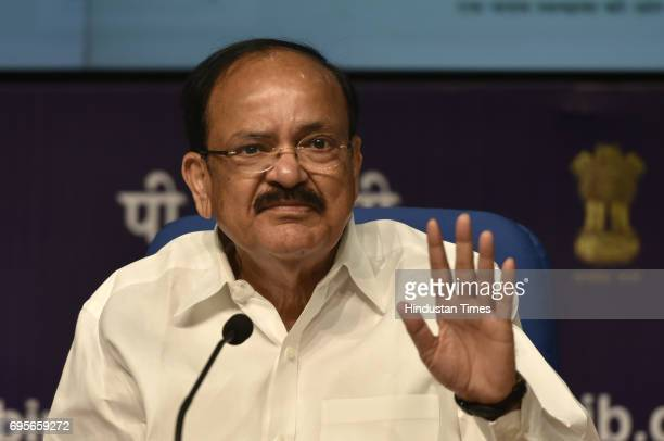 Union Urban Development Minister Venkaiah Naidu addressing the media persons on the occasion of '3 Year of Urban Transformation' press conference at...