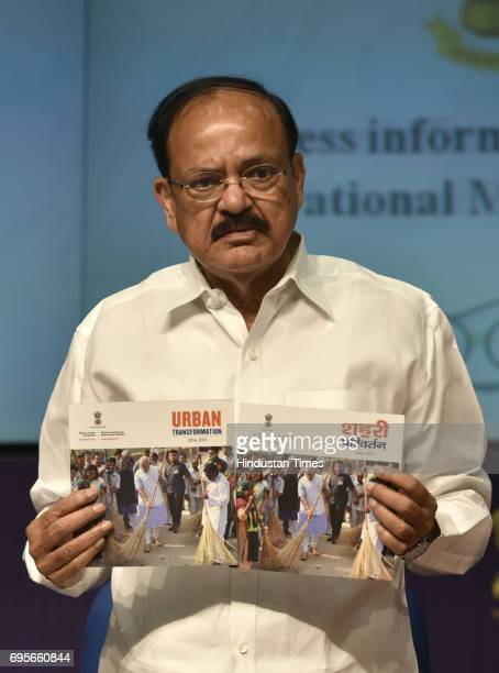 Union Urban Development Minister Venkaiah Naidu releasing the publication on the occasion of '3 Year of Urban Transformation' press conference at...
