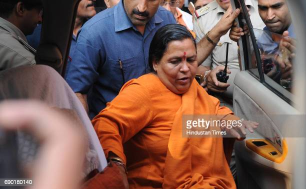 Union Water Resource Minister Uma Bharti after getting bail in Ayodhya Ram MandirBabri Masjid Demolition case at CBI court on May 30 2017 in Lucknow...