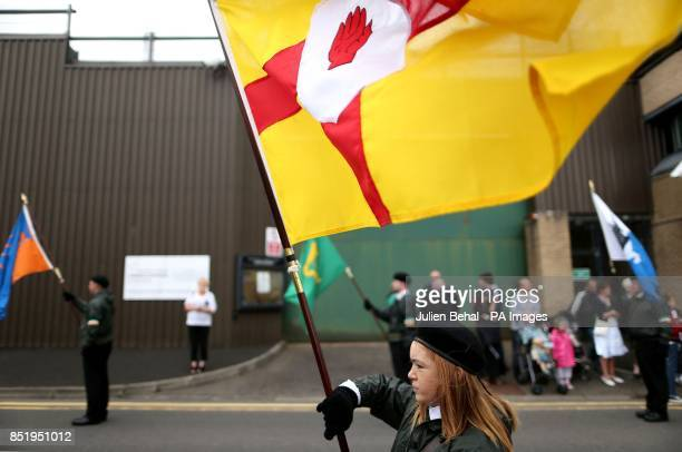 Unionists in Castlederg County Tyrone during the controversial parade by IRA supporters