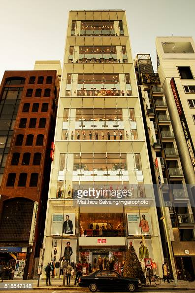 Uniqlo's flagship store is photographed for Madame Figaro on January 13 2016 in Tokyo Japan In the heart of the luxury Ginza neighborhood Uniqlo...