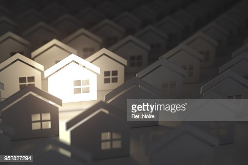 Unique lighting house sign in group of  houses. Real estate property industry concept background. : Stock Photo