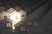 Unique lighting house sign in group of  houses. Real estate property industry concept background. 3d illustration