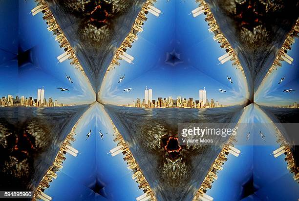 Unique multiple mirrored and reflected images of the Trade Center Towers and the Manhattan cityscape seen and photographed through a taleidoscope...