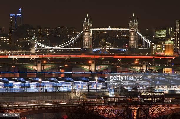 Unique view at night of six London bridges