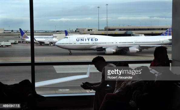 United Airlines Boeing 747 aircraft taxis to the runway at San Francisco International Airport in San Francisco California
