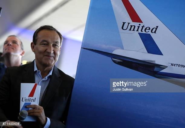 United Airlines CEO Oscar Munoz prepare to speak to passengers before United Airlines flight 747 takes off on its final flight from San Francisco...