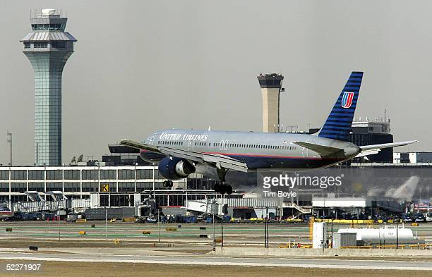 United Airlines jet comes in for a landing at O'Hare International Airport March 3 2005 in Chicago Illinois According to the US Bureau of...
