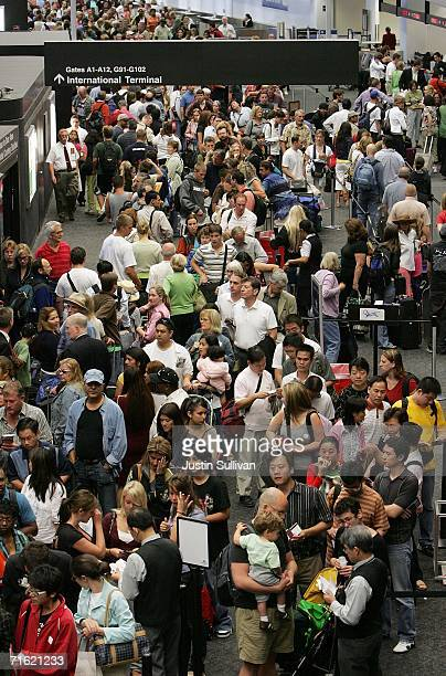 United Airlines passengers line up at a security checkpoint at San Francisco International Airport August 10 2006 in San Francisco The Department of...