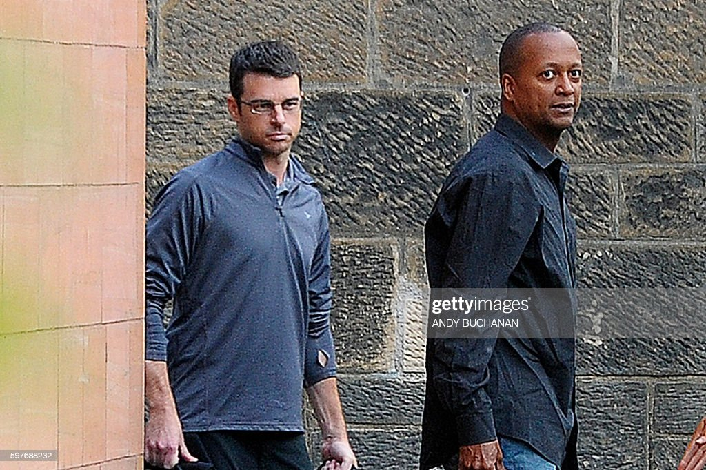 United Airlines pilots Brady Grebenc and Carlos Licona are pictured as they leave Paisley Sherrif Court in Glasgow after being freed on bail The two...