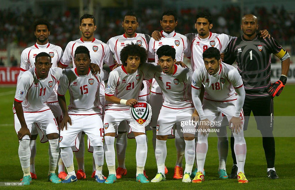 United Arab Emirate players pose for a picture prior their match against Bahrain in the 21st Gulf Cup in Manama, on January 8, 2013. The Emiartes won 2-1.