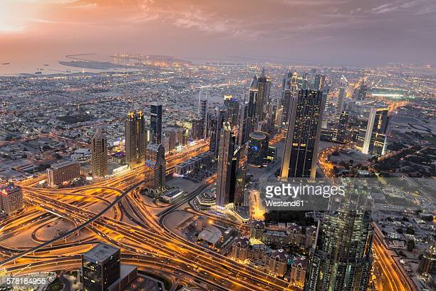 United Arab Emirates, Dubai City, Skyline view from Burj Khalifa at sunset