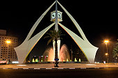 United Arab Emirates, Dubai, Deira, Clock Tower, night
