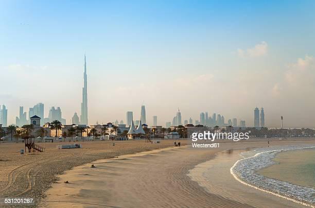 United Arab Emirates, Dubai, Dubai skyline from Jumeirah beach