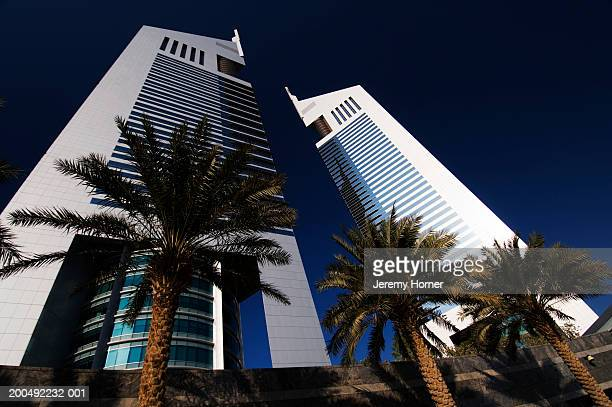 United Arab Emirates, Dubai, Emirates Towers, low angle view