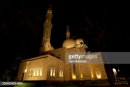 United Arab Emirates, Dubai, Jumeirah Mosque, night : Stock Photo