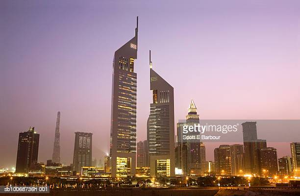 United Arab Emirates, Dubai, Sheikh Zayed Road at dusk