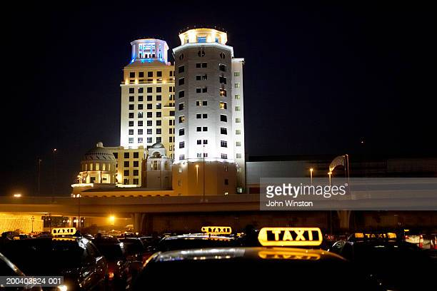 United Arab Emirates, Dubai, Sheikh Zayed Road, taxis, night