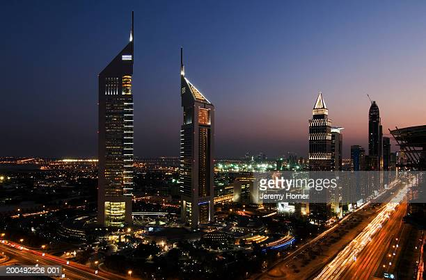 United Arab Emirates, Dubai, skyline, dusk (blurred motion)