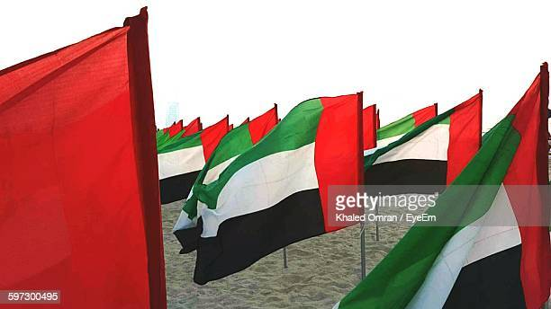 United Arab Emirates Flags On Beach Against Clear Sky