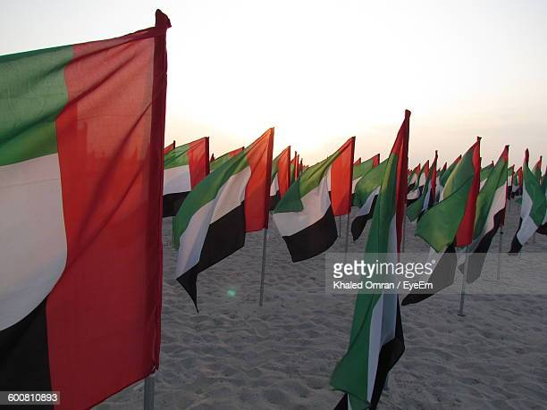 United Arab Emirates Flags On Sand Against Sky