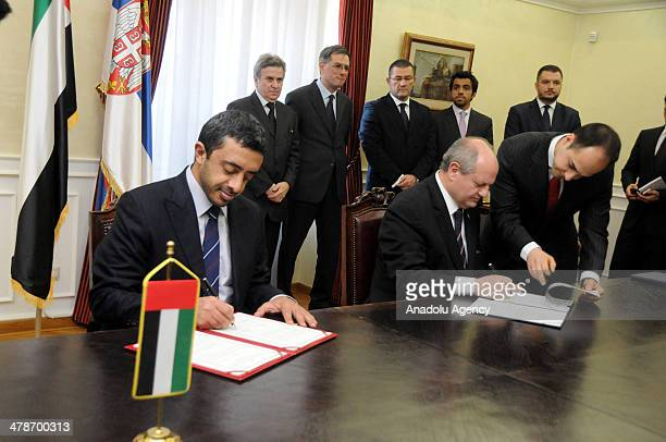 United Arab Emirates Foreign Minister Abdullah bin Zayed Al Nahyan and Serbian foreign Minister Ivan Mrkic sign an agreement to lift visa...