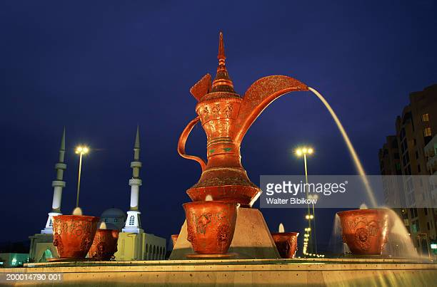 United Arab Emirates, Fujairah,  Water Carafe statue, night