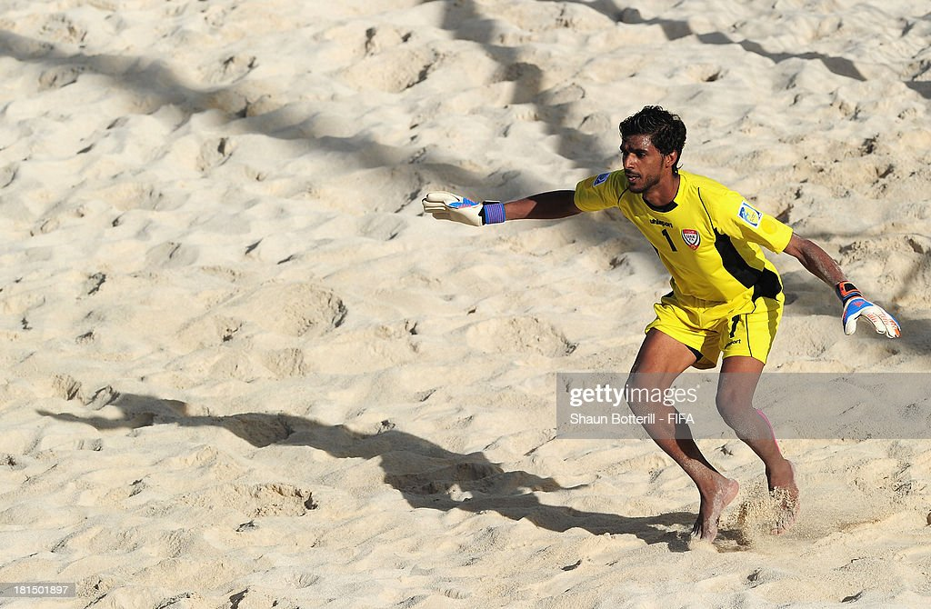 United Arab Emirates goalkeeper Mohamed Aljasmi lduring the FIFA Beach Soccer World Cup Tahiti 2013 Group A match between United Arab Emirates and Spain at the Tahua To'ata stadium on September 21, 2013 in Papeete, French Polynesia.