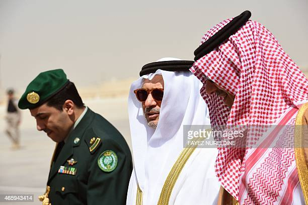 United Arab Emirates' Minister of State for Foreign Affairs Anwar Mohammed Gargash is escorted by Saudi Deputy Minister of Foreign Affairs Abdulaziz...
