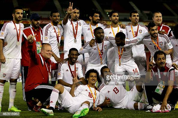 United Arab Emirates players receive their medals for third place during the Third Place 2015 Asian Cup match between Iraq and the United Arab...