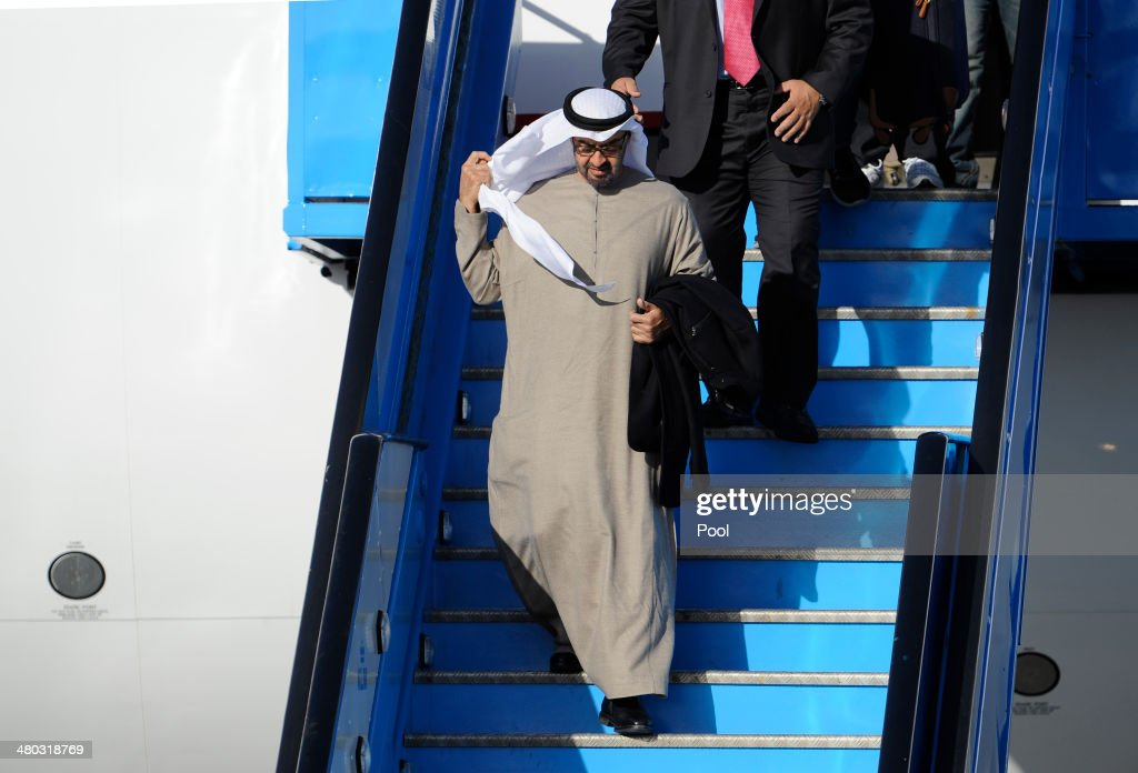 United Arab Emirates President Khalifa bin Zayid al-Nuhayyan arrives at Schiphol Amsterdam Airport ahead of the 2014 Nuclear Security Summit on March 24, 2014 in Amsterdam, Netherlands. The Nuclear Security Summit, held March 24-25, will be attended by world leaders and is aimed at preventing nuclear terrorism.