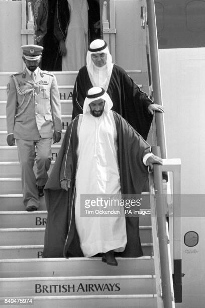 United Arab Emirates president Sheikh Zayed bin Sultan Al Nahyan arrives at Heathrow Airport for a fourday official visit to Britain