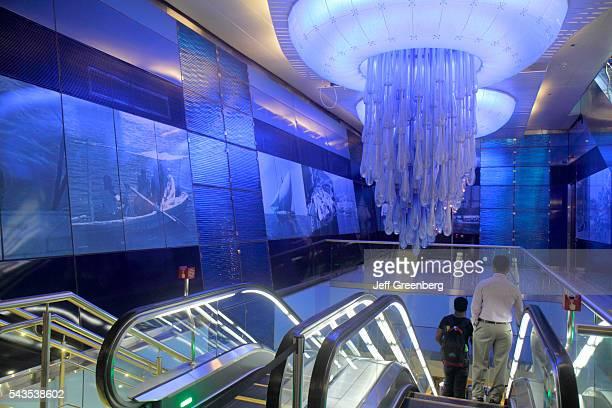 United Arab Emirates UAE UAE Middle East Dubai Khalid Bin Al Waleed Metro Station Green Line subway public transportation interior chandelier...