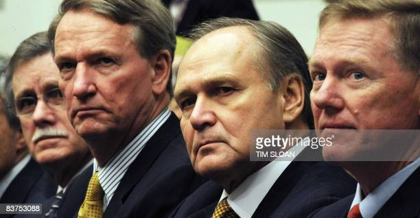 United Auto Workers President Ron Gettelfinger General Motors CEO Richard Wagoner Jr Chrysler CEO Robert Nardelli and Ford Motor Company CEO Alan...
