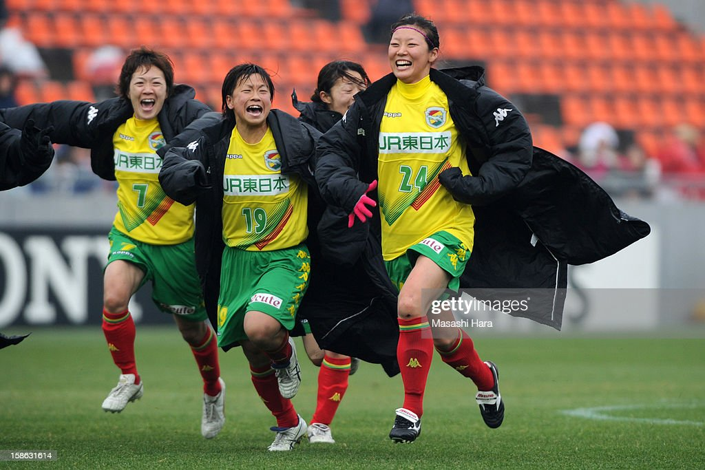 United Chiba Ladies players celebrate their win after the 34th Empress's Cup All Japan Women's Football Tournament semi final match between Iga FC Kunoichi and JEF United Chiba Ladies at Nack 5 Stadium Omiya on December 22, 2012 in Saitama, Japan.