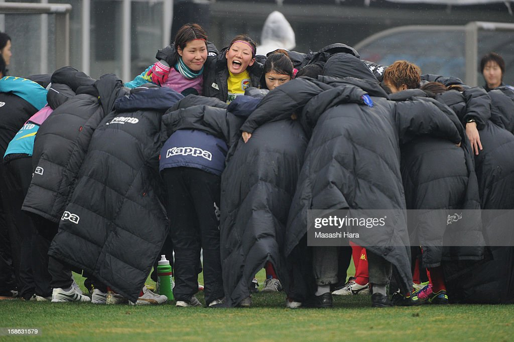 United Chiba Ladies players huddle before extra time during the 34th Empress's Cup All Japan Women's Football Tournament semi final match between Iga FC Kunoichi and JEF United Chiba Ladies at Nack 5 Stadium Omiya on December 22, 2012 in Saitama, Japan.