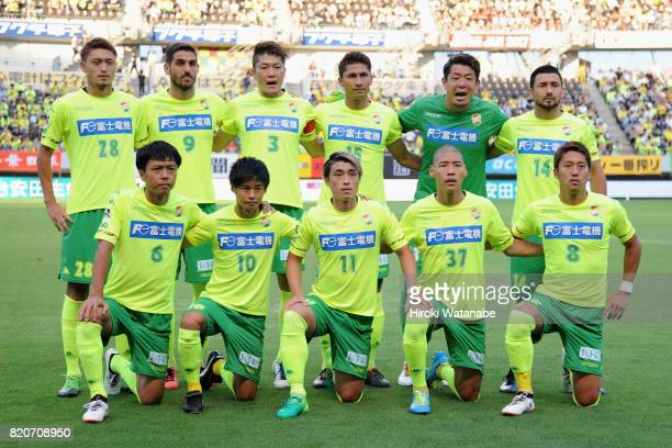JEF United Chiba players line up for the team photos prior to the JLeague J2 match between JEF United Chiba and Zweigen Kanazawa at Fukuda Denshi...