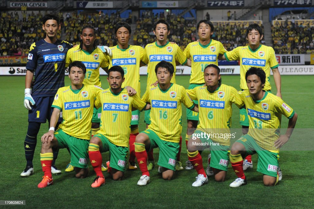 JEF United Chiba players pose for photograph prior to the J.League second division match between JEF United Chiba and Yokohama FC at Fukuda Denshi Arena on June 15, 2013 in Chiba, Japan.