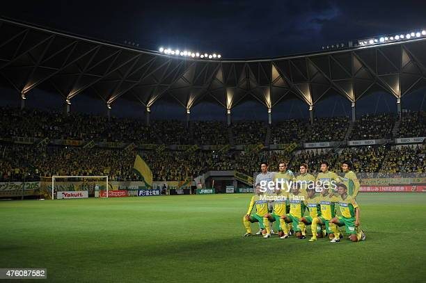 JEF United Chiba players pose for photograph prior to the JLeague second division match between JEF United Chiba and Consadole Sapporo at Fukuda...