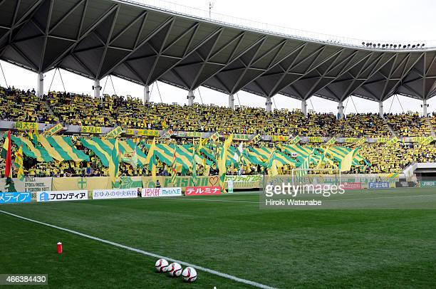 JEF United Chiba supporters cheer prior to the JLeague second division match between JEF United Chiba and Mito Hollyhock at Fukuda Denshi Arena on...